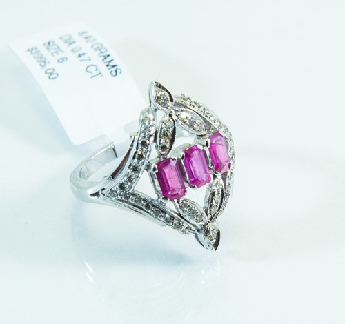 18 KT White Gold Emerald Cut Ruby and Micro Pave Diamond Ring