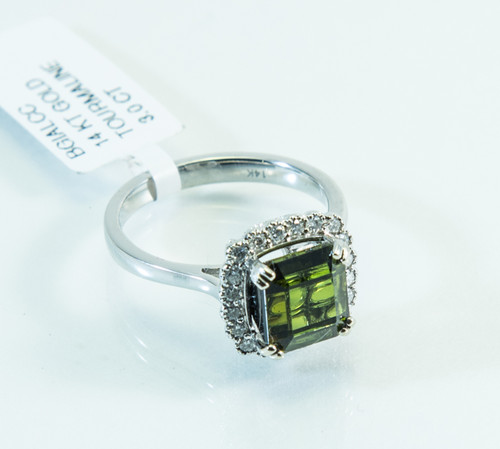 14 KT White Gold Ring with Princess Cut Green Tourmaline and Micro Pave Diamonds