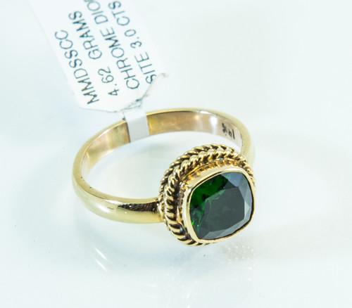 18 KT Gold Ring Original Balinese Design with 3 Carat Chrome Diopside