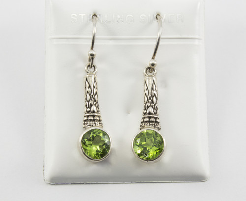 Balinese Earrings with Round-Shaped Natural Peridot