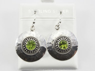 Round Balinese Hammered Silver Peridot Earrings
