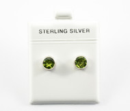 Genuine Peridot Studs in a Simple Silver Bezel