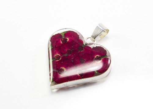 Heart Shaped Pendant with Real Flowers