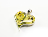 Real Yellow Flowers in a Heart Shaped Pendant