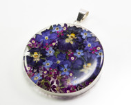 Blue and Purple Flower Pendant