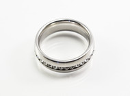 Silver Stainless Steel Band with Cubic Zirconia
