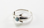 Natural Larimar Stone in a Dolphin Setting