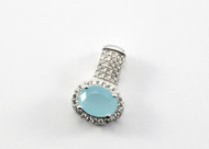 Oval-Shaped Chalcedony and Micro Pave Pendant