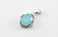 Oval-Shaped Faceted Chalcedony Pendant