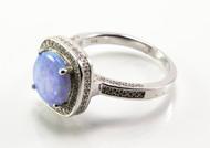 Square Light Blue Lab Opal Ring