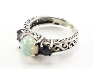 Sapphire and White Lab Opal Filigree Ring