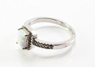 Emerald-Cut White Lab Created Opal Ring