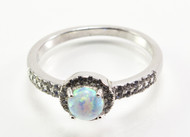 Pronged Round-Shaped White Lab Created Opal Ring with Micro Pave CZ