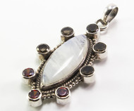 Marquise-Shaped Moonstone with Garnet Pendant