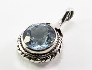 Balinese Round Blue Topaz Rope Pattern Pendant