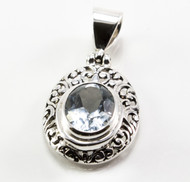 Balinese Oval-Shaped and Filigree Blue Topaz Pendant