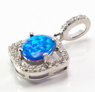 Eye Shaped/Oval Shaped Blue Lab Opal w/ Micro Pave CZ Pendant