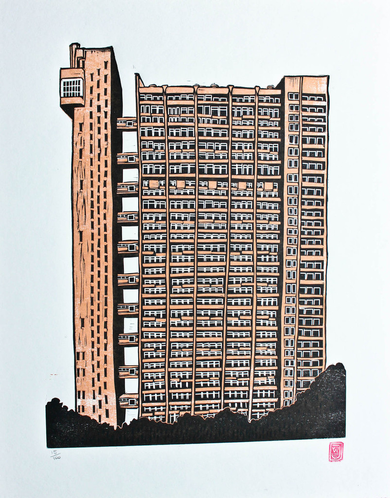 Trellick Tower - Limited Edition Lino Print