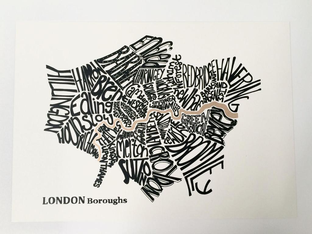 Mini Print A4 Black and Gold London