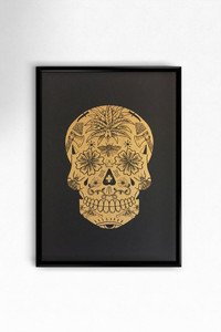 Metallic Gold Skull ( Black )