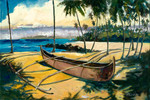 Daniels had been surfing on a beach close to Lahina, Maui and when he came to shore he saw several outriggers that were on the beach and he was inspired to sketch this image, which he later painted.  Outrigger is another beautiful impressionist painting of Daniels unique color palette.  Daniels paints each composition with his own interpretation of reality as he sees the world and for the viewer to grasp that vision he has created with his dramatic palette knife and brush stroke techniques.  Each of Daniel's Tru-Giclee Limited Editions are imaged onto archival canvas utilizing the Giclee imaging process using archival inks.  The piece is un-stretched and is shipped rolled in a tube.