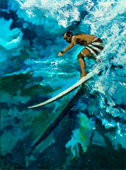 Daniels painted this piece from a picture from the private collection of Greg Noll.   This image was taken as the LEGEND, Greg Noll, was pondering yet another giant wave on the North Shore.   The web does not really capture the true depth of the beautiful colors Norm used to paint this piece.  Waimea Drop In is another beautiful impressionist painting of Daniels unique color palette.  Daniels paints each composition with his own interpretation of reality as he sees the world and for the viewer to grasp that vision he has created with his dramatic palette knife and brush stroke techniques.  Each of Daniel's Tru-Giclee Limited Editions are imaged onto archival canvas utilizing the Giclee imaging process using archival inks.   The piece is un-stretched and is shipped rolled in a tube.
