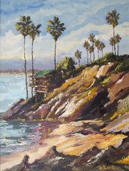 Daniels painted this plein aire piece from Pirates Cove in Corona del Mar, California looking up the Newport Beach/Balboa Harbor channel and is absolutely stunning.  Balboa Channel is another beautiful impressionist painting of Daniels unique color palette.  Daniels paints each composition with his own interpretation of reality as he sees the world and for the viewer to grasp that vision he has created with his dramatic palette knife and brush stroke techniques.  Each of Daniel's Tru-Giclee Limited Editions are imaged onto archival canvas utilizing the Giclee imaging process using archival inks.  The piece is un-stretched and is shipped rolled in a tube.