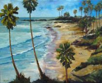 Daniels painted this plein aire piece looking North at Main Beach in Laguna Beach with no man made structures and is absolutely stunning.  A Day at the Beach is another beautiful impressionist painting of Daniels unique color palette.  Daniels paints each composition with his own interpretation of reality as he sees the world and for the viewer to grasp that vision he has created with his dramatic palette knife and brush stroke techniques.  Each of Daniel's Tru-Giclee Limited Editions are imaged onto archival canvas utilizing the Giclee imaging process using archival inks.   The piece is un-stretched and is shipped rolled in a tube.