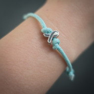 Cord Bracelet - Teal with Ribbon Charm