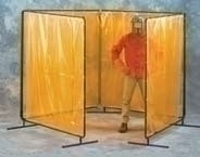 8X8X8X8 X 8'H Orng Weldview 4 Panel Welding Screen Complete Unit 8' X 32' Curtain