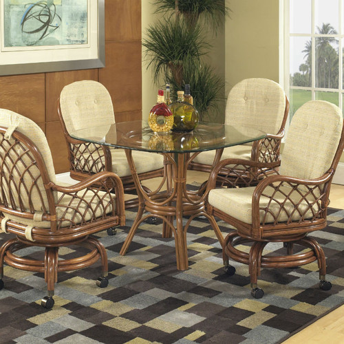Grand Isle 5 PC Dining Set with Swivel Rocker Caster Chairs