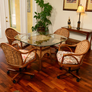 Panama 5 PC Dining Set with Swivel Caster Chairs