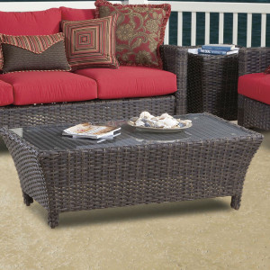 Panama Outdoor Coffee Table with Glass Top