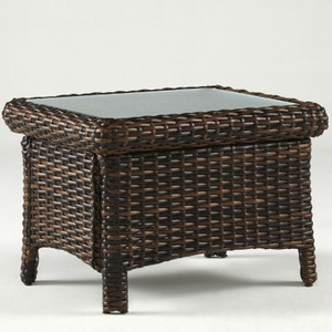 Saint Tropez Outdoor End Table with Glass Top