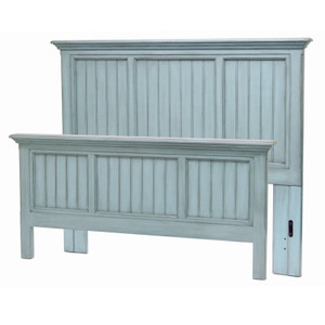 Monaco Queen Complete Bed in a distressed bleu finish