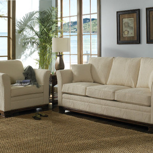The Kingston Ottoman comes in your choice of feet, fabric, and finish color.