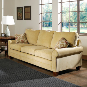 The Highland Queen Sleeper Sofa comes in your choice of feet, fabric, and finish color. Mattress upgrades are also available.