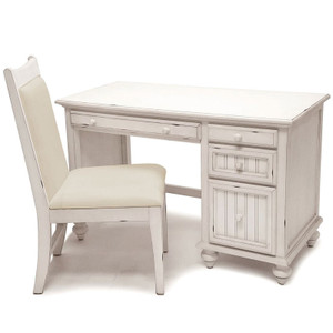 Monaco Distressed White Desk & Chair Set