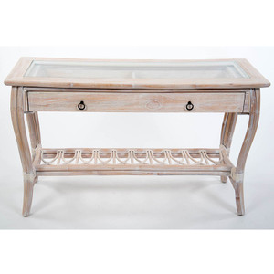 Cuba Sofa Table with Glass in Washed Linen finish