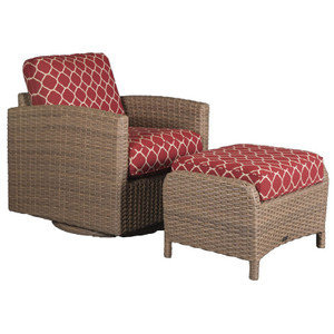Lodge Outdoor 2pc Swivel Glider and Ottoman - Accord Crimson Fabric