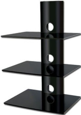Triple Black Shelf High Gloss Black Wall mounted