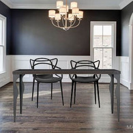 Set of 4 Black Modern Master Style Armchairs, and 1 Modern Black Wood w/ Steel legs Dining Table 63""