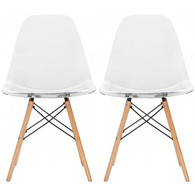 Set of 2, EIFFEL Natural Wood Chair Clear Seat