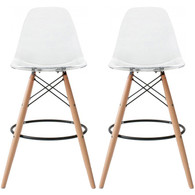 "Set of 2, EIFFEL Natural Wood CLEAR Bar Stool - 25"" Seat Height"