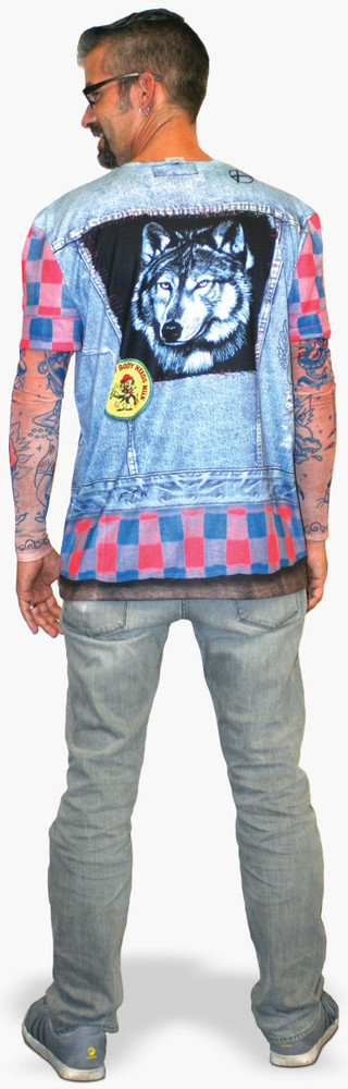 Faux Real Jean Jacket Tattoo with Mesh Sleeves - Model Back View