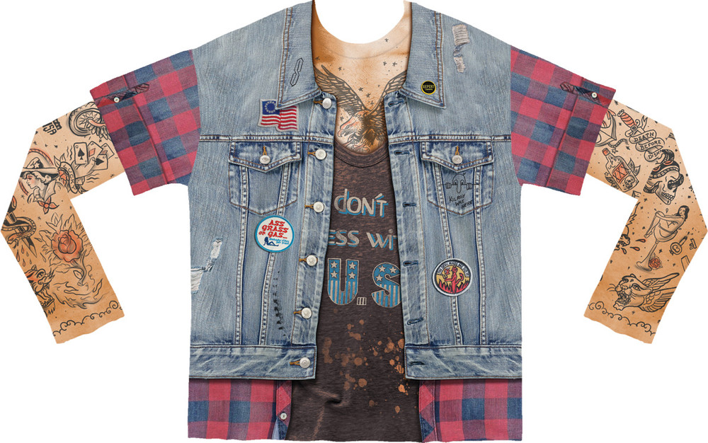 Faux Real Jean Jacket Tattoo with Mesh Sleeves - Front View