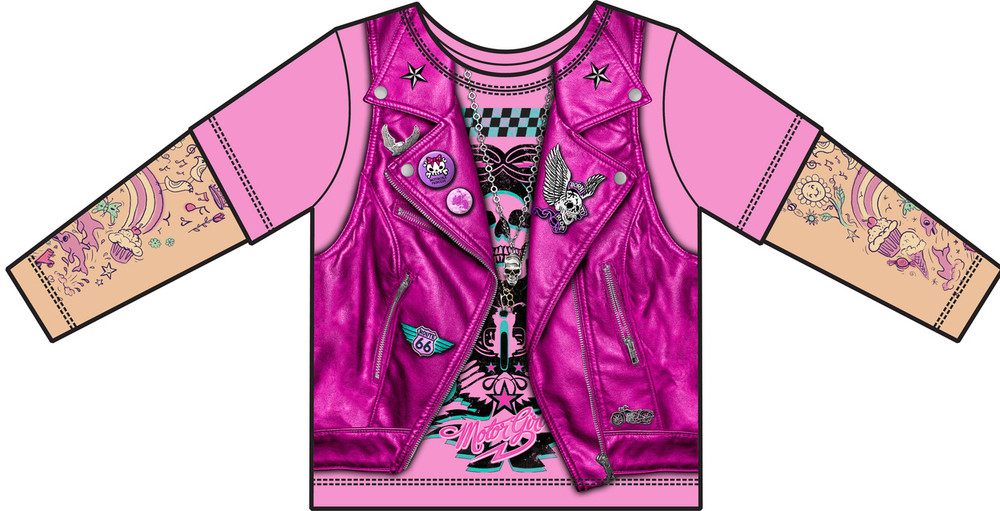 Faux Real Toddler Pink Biker Girl - Front View