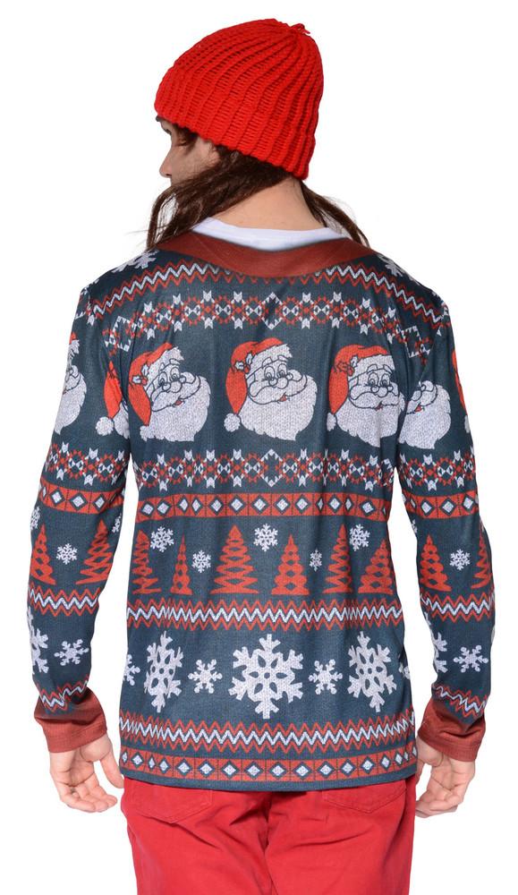 Faux Real Santa Stripe Sweater T-Shirt - Back View