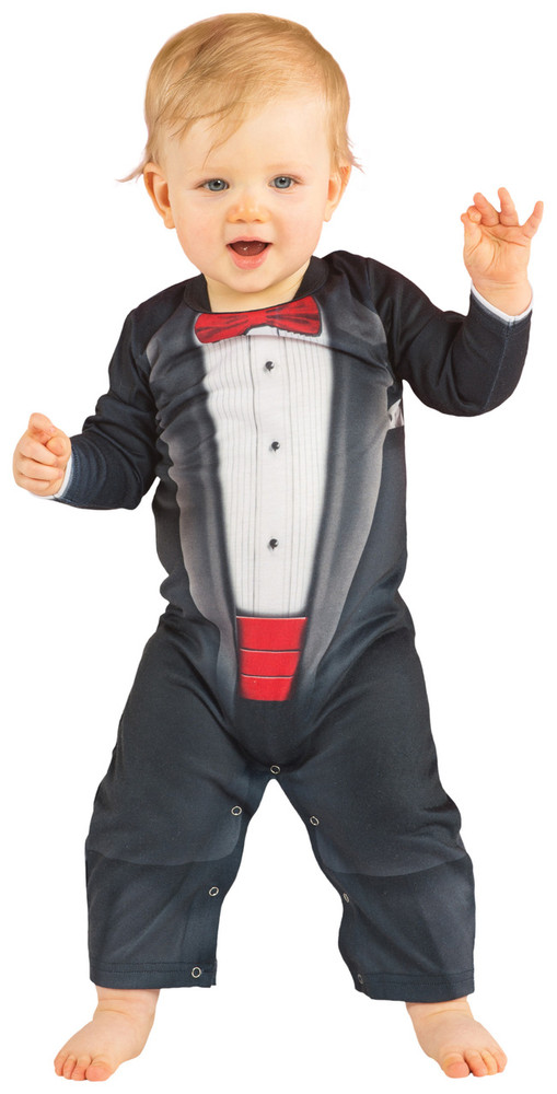 Infant Bow Tie Tuxedo Romper - Front View