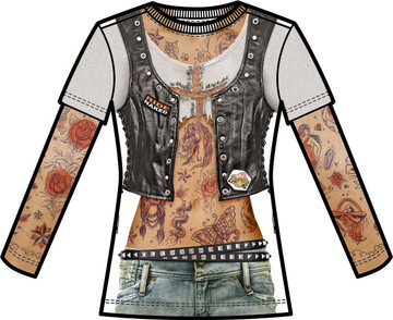 Faux Real Ladies Tattoo with Mesh Sleeves - Front View